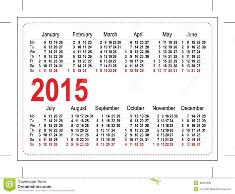 template pocket calendar 2015 stock vector image 42983587