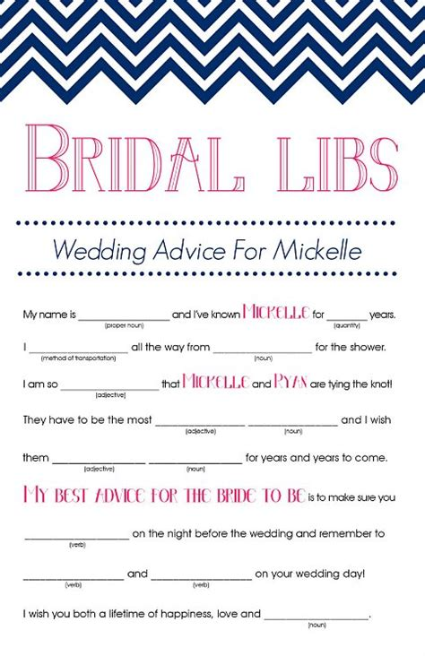 bridal shower advice game printable bridal mad libs printable bridal shower games bridal
