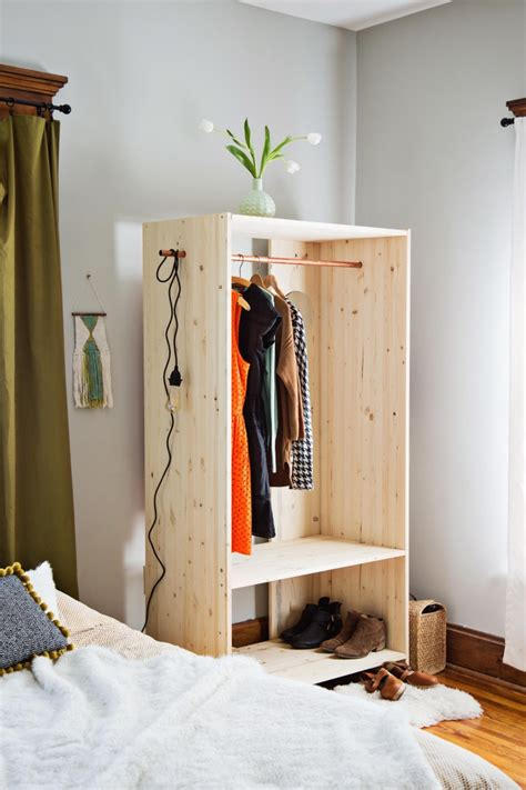 how to build an armoire closet diy modern wooden wardrobe with copper details shelterness
