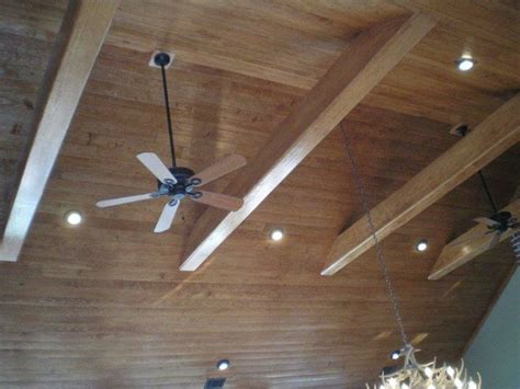 vaulted ceiling fan box 1x4 buttboard ceiling treatment with beams cathedral