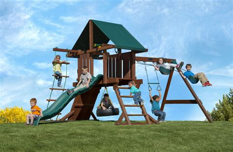 redwood swing sets wholesale two ring swing set with tire swing slide and rock wall