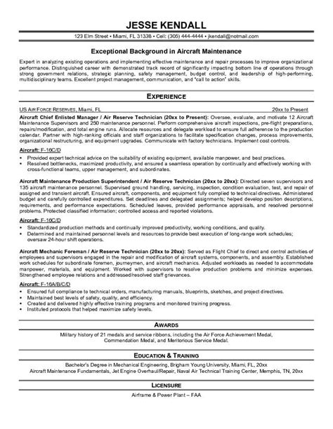 Aircraft Mechanic Resume by Aircraft Mechanic Resume Sle Best Professional