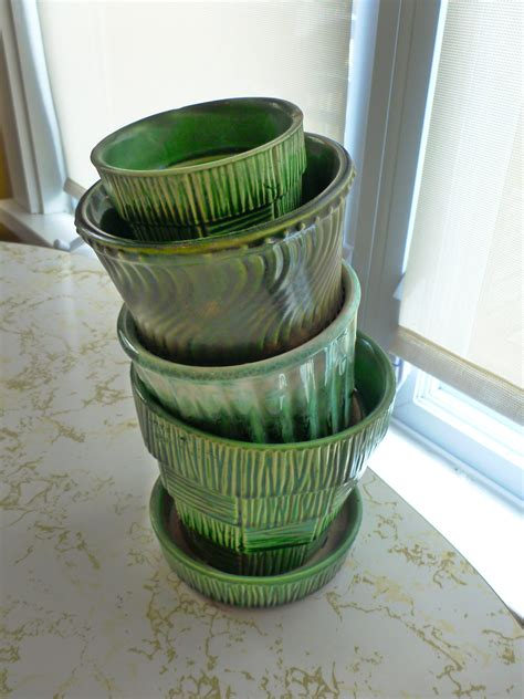 Pottery Planters by Vintage Mccoy Pottery Green Planters The New Collector