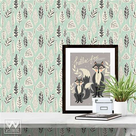 Nursery Decor Wallpaper Decor Boys Nursery Decor Removable Wallpaper Leaves Going Home To Roost Going Home