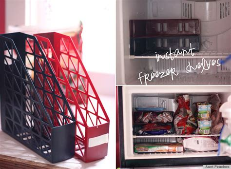 life hacks storage increase your freezer storage space with magazine holders