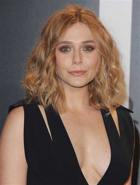 Super Lob Curled | elizabeth olsen with a curly lob subtly tight lined eyes