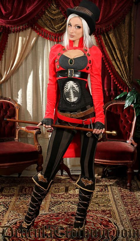 red openbust tailcoat   fashion steampunk couture gothic fashion