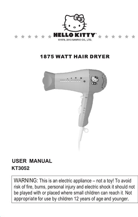 Hair Dryer Owners Manual hello hair dryer kt3052a user guide manualsonline