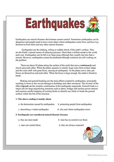 Worksheets On Earthquakes by 63 Free Esl Nature Worksheets
