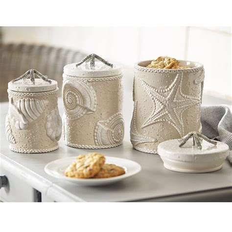 Kitchen Canister Set Ceramic sand nautilus canister set
