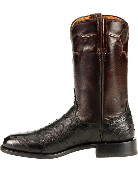 roper boots lucchese handcrafted quill ostrich napoli roper