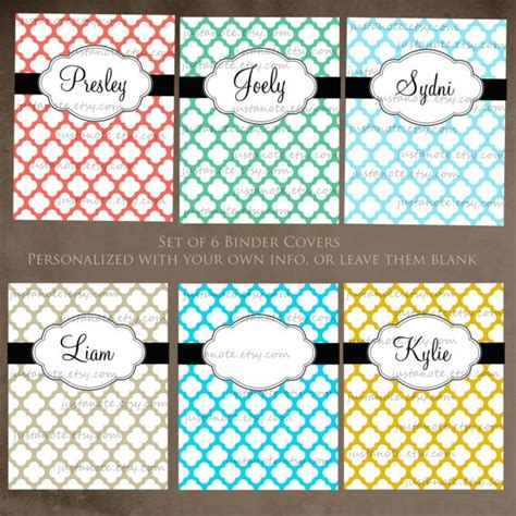 printable customized binder covers binder covers page dividers my etsy shoppe pinterest