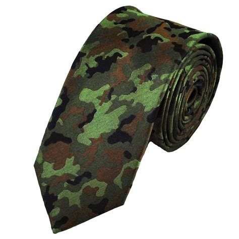 green black brown camouflage patterned silk tie from