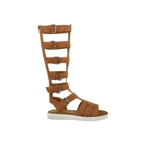 knee high strappy sandals black faux leather strappy knee high gladiator sandals