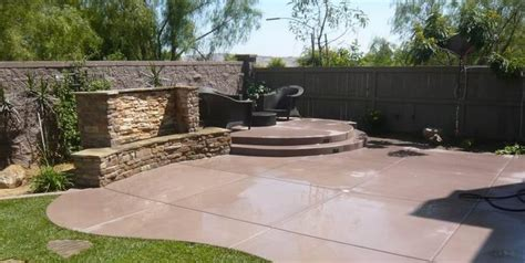 Backyard Concrete Patio Ideas Concrete Patio Design Ideas And Cost Landscaping Network