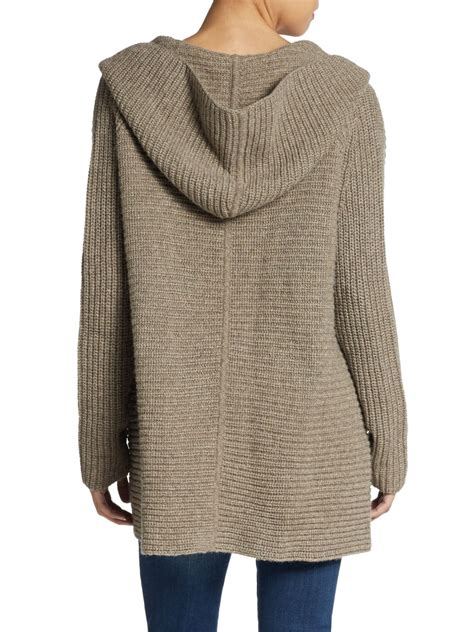 chunky knit hooded cardigan lyst vince hooded chunky knit cardigan in brown