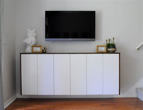 ikea hack credenza diy floating credenza quot fauxdenza quot as custom media cabinet