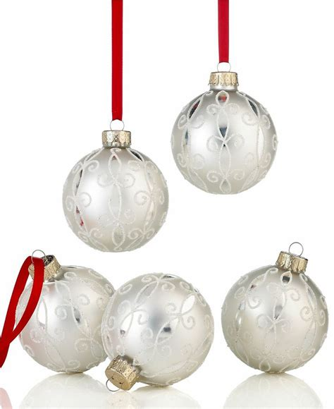 holiday lane christmas ornaments set of 5 white arabesque