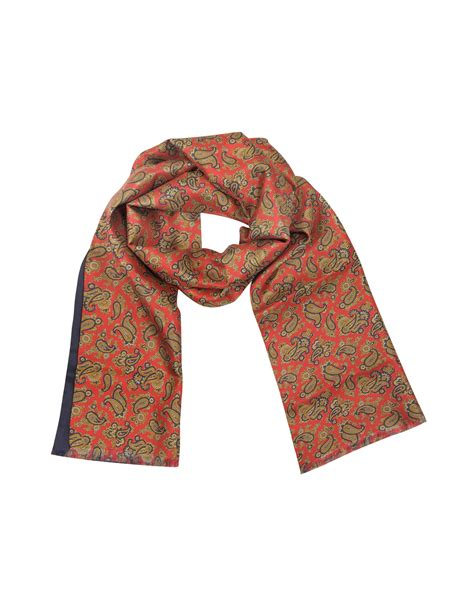 forzieri maxi paisley print silk reversible s scarf in