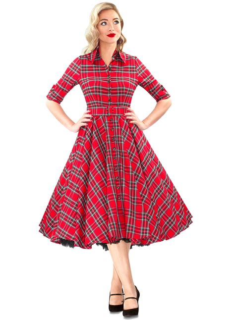 way out west royal stewart tartan 50s style swing dress