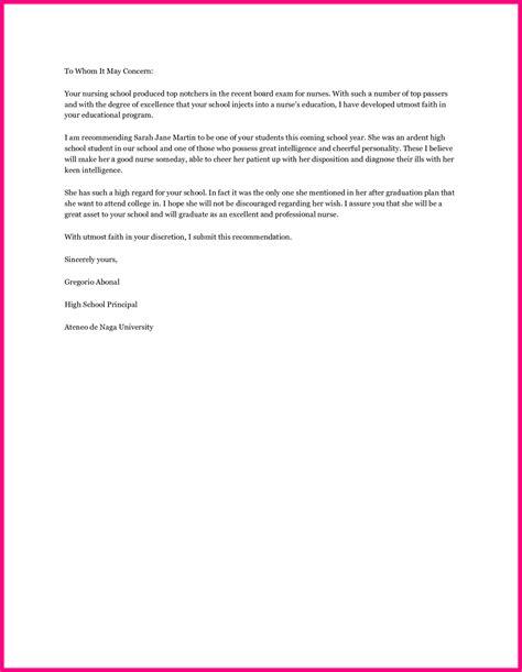 nursing recommendation letter sle letter of recommendation for nursing student nursing