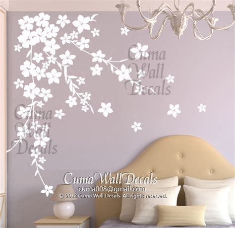 white flower wall stickers white cherry blossom wall decals flower vinyl wall decals by cuma