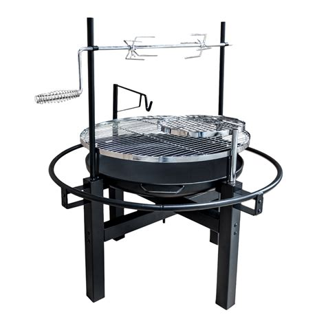 backyard rotisserie outdoor round camping fire pit charcoal bbq barbecue grill and rotisserie ebay