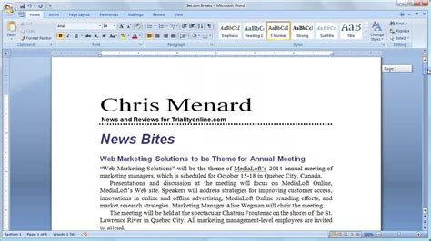 ms word insert section break microsoft word section breaks continuous to create a