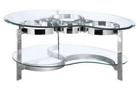 Glass Cocktail Table by Curvy Chrome Glass Cocktail Table