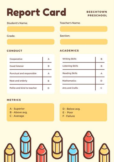 Free Report Card Template For Preschool Yellow With Colorful Pencils Preschool Report Card