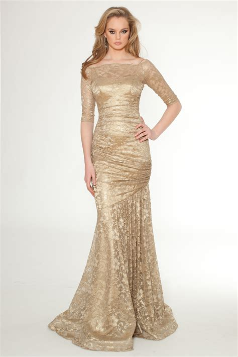 Gold Bridesmaid Dress by Gold Floor Length Lace Bridesmaid Dress With Three Quarter