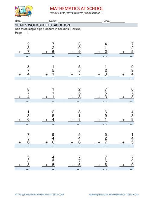 year 4 maths worksheets addition add 3 single digit