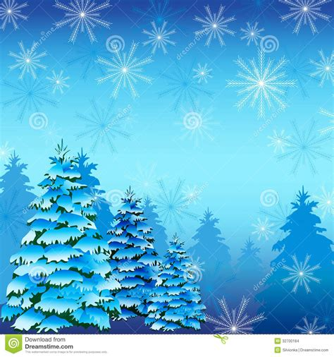 winter tree snowflakes stock vector winter background with fir tree and snowflakes stock vector image 32700184