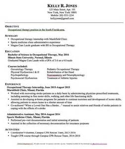 Sample Resume For Occupational Therapist occupational therapy resume templates free resume sample