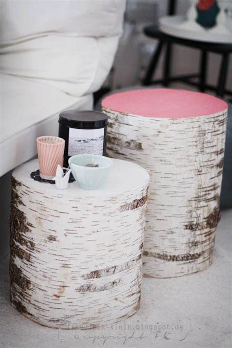 diy birch stump tables smalls tables stools to tuck