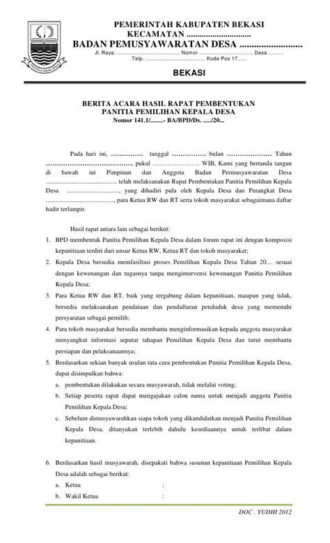 Berita Acara Hasil Rapat by Contoh Dokumen Pilkades