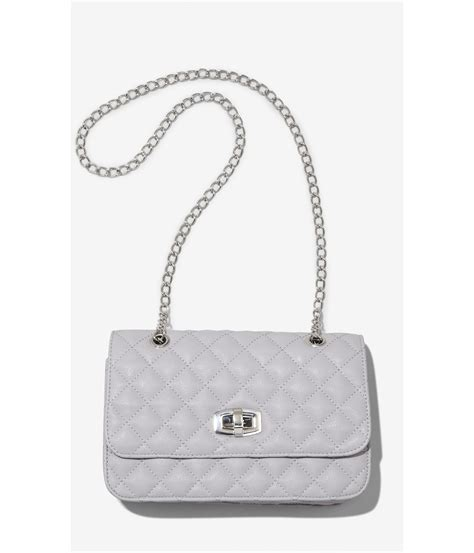 Quilted Bag With Chain by Express Quilted Chain Shoulder Bag In Gray Lt