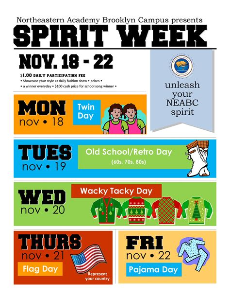 South Brooklyn Academy Business Technology Formerly Neabc 187 Spirit Week Nov 18 22 Free Spirit Week Flyer Template