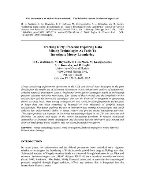 (PDF) Tracking dirty proceeds: Exploring data mining