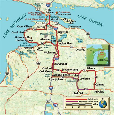 Motorcycling Across Michigan motorcycle tour rides tunnel of trees tour in usa