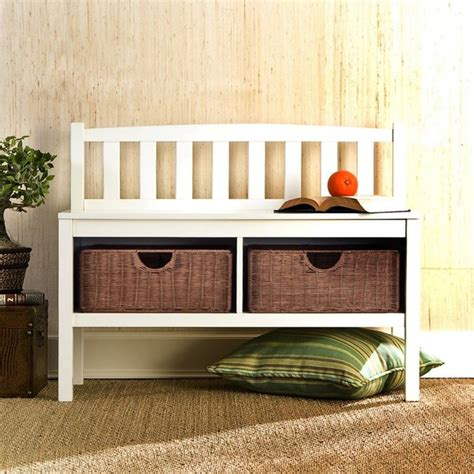 white storage bench with baskets white bench with rattan storage baskets traditional