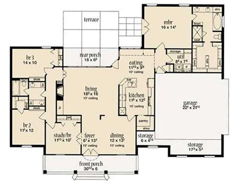 house plans 2000 square feet one story european house plan 4 bedrms 2 baths 2000 sq ft