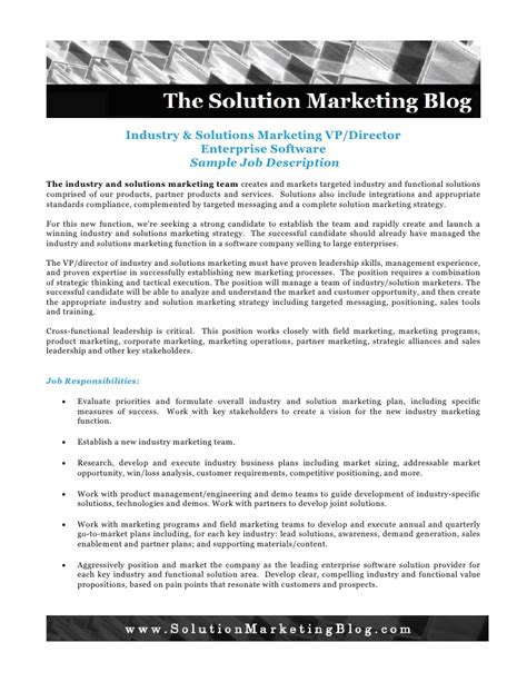 Industry Descriptions by Industry And Solution Marketing Description