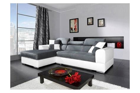canape d angle blanc et gris canap 233 d angle madrid i cuir pu et microfibre gris et
