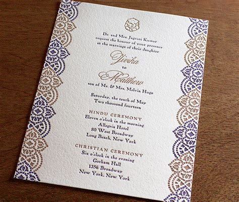 indian wedding invitation mail sle indian letterpress wedding invitation gallery jivika invitations by ajalon
