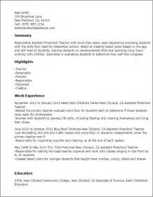 Classroom Assistant Sle Resume by Professional Assistant Preschool Templates To Showcase Your Talent Myperfectresume