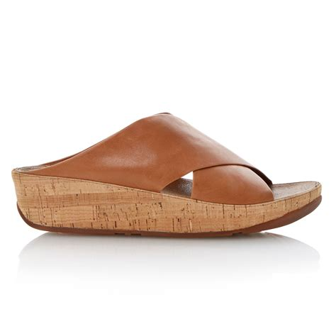 Leather Wedges 1 fitflop kys leather toe crossover wedge sandals in brown lyst