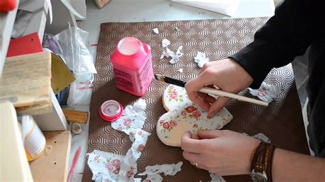 decoupage  wooden heart  napkins youtube