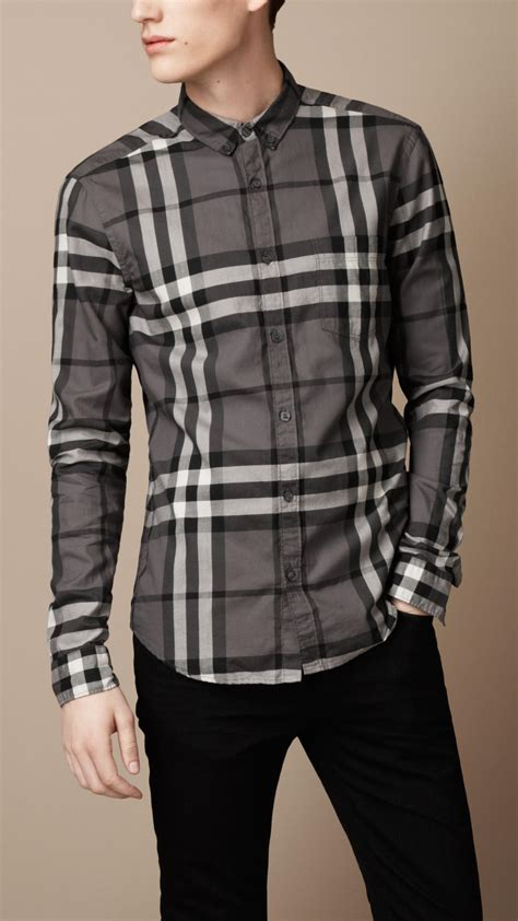 burberry brit exploded check cotton shirt in gray for