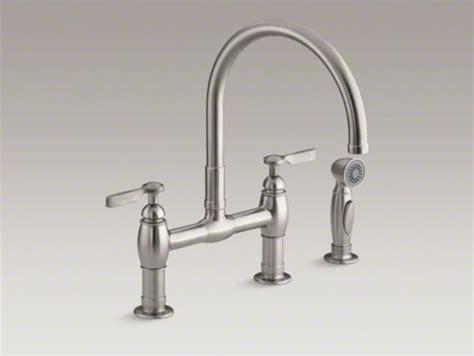 kohler parq two hole deck mount kitchen sink faucet with 9 kohler parq r two hole deck mount bridge kitchen sink